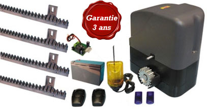 kit coulissant 12V - bloquant - poids portail 400 kg max - cycles intensifs - garantie 3 ans