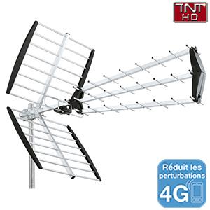 Antenne extérieure UHF TNT HD trinappe à fiche F - 18dB