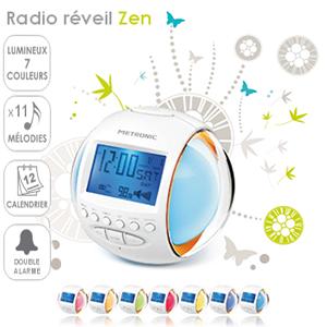 radio r veil zen 7 couleurs 11 m lodies fonction calendrier double alarme metronic. Black Bedroom Furniture Sets. Home Design Ideas