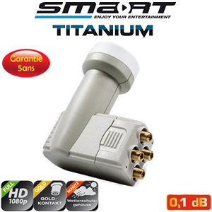LNB Quad 0.1 dB - 40 mm - Smart Titanium Eco-edition - HDTV 3D - 5 ans de garantie
