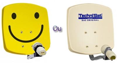parabole en aluminium 33cm 33 x 33cm smiley jaune ou beige technisat digidish 33. Black Bedroom Furniture Sets. Home Design Ideas