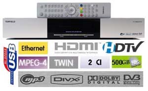 Topfield TF 7700 HD PVR Terminal numerique HD Twin Tuner, HDD 500 GB, 2 x CI, 2 x USB, Ethernet Silver