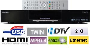 Topfield TF 7700 HD PVR Terminal numerique HD Twin Tuner, HDD 500 GB, 2 x CI, 2 x USB, Ethernet + Cordon HDMI offert