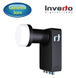 LNB Quad 0.2 dB - 40 mm - Inverto Black Ultra - 3 ans de garantie