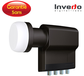 LNB Quad 0.2 dB, 40 mm - Inverto Black Premium - 5 ans de garantie