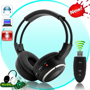 casque sans fil microphone metteur usb r cepteur fm int gr. Black Bedroom Furniture Sets. Home Design Ideas