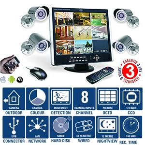 kit surveillance couleur complet cran tft 15 38cm dvr int gr avec 8 canaux d entr e. Black Bedroom Furniture Sets. Home Design Ideas