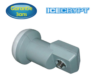 LNB Single 0,1 dB  Icecrypt ou Technisat - Compatible TVHD - 5 ans de garantie