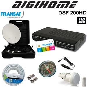 Kit Camping-car HD Digihome Parabole en acier 35 cm + Accessoires de fixation + Digihome DSF-200HD + LNB Single + Câble coaxial + Boussole + Cordon allume cigare