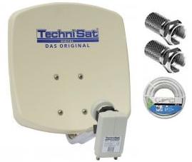Kit parabole en aluminium Technisat DIGIDISH 33 + 1 LNB Twin + 20m de cable coaxial 17 VATC Blanc + 2 Fiches F