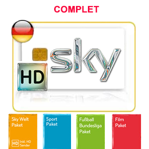Abonnement Sky Deutschland complet HD - Welt + Welt extra + Sport + Film + Bundesliga + (Multifeed Premium HD en option*) via Astra 19.2°E - 24 mois