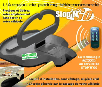 barriere parking STOPNGO, ENERGIE INEPUISABLE + TELECOMMANDE