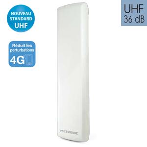 Antenne extérieure discrète amplifiée UHF - 36dB - METRONIC