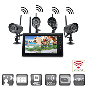 kit video surveillance sans fil num rique avec 4 cam ras int rieure infrarouge et r cepteur 2. Black Bedroom Furniture Sets. Home Design Ideas