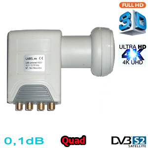 LNB Quad 0,1 dB HDG2-QDNM - Compatible HDTV et 3D ready - 40mm - 1 an garantie
