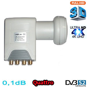 LNB Quattro 0,1 dB HDG2-QTNM--RED-LINE- - Compatible HDTV et 3D ready - 40mm - 1 an garantie