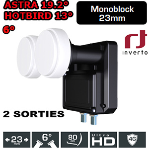 LNB Monobloc 6° Twin 0.2dB - 23mm - Inverto black - Compatible HDTV - 5 ans de garantie