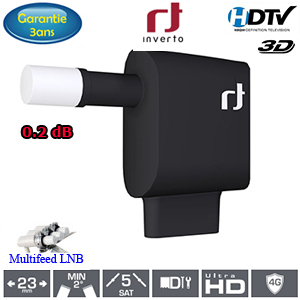 LNB Quattro 0.2 dB - 23 mm - Inverto black multiConnect - Slimfeed - 3 ans de garantie