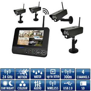 Kit video surveillance sans fil num rique avec 4 cam ras - Kit camera de surveillance sans fil exterieur ...