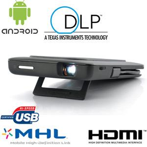 mini projecteur led dlp 640x480 pour smartphone avec batterie int gr e. Black Bedroom Furniture Sets. Home Design Ideas