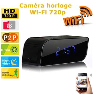 reveil cam ra cach e hd 720p wifi dvr avec d tecteur de mouvement et vision nocturne. Black Bedroom Furniture Sets. Home Design Ideas