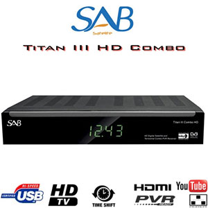 Récepteur SAB TITAN III COMBO HD - Satellite / TNT - 1 lecteur de carte - CI - 2 USB - PVR via USB - TimeShift - Ethernet + Cordon HDMI offert