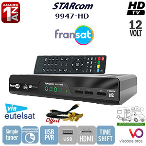 STARcom 9947 Terminal numérique HD - 12Volts - PVR via USB - HDMI - Ethernet - 1 lecteur de carte - Déport IR en option - avec carte Viaccess Fransat sur Atlantic Bird 3 + Cordon HDMI offert