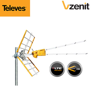 Antenne V ZENIT Televes - UHF C21-58/59/60 Réglable - TNT HD - Technologie CSG - LTE Ready - Gain 15 dB