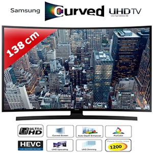 tv led 55 138 cm incurv uhd 4k smart tv 1200pqi samsung ue55ju6640. Black Bedroom Furniture Sets. Home Design Ideas