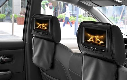 paire d appuie t te de voiture noir avec lecteur dvd cran lcd 7 syst me de jeu. Black Bedroom Furniture Sets. Home Design Ideas