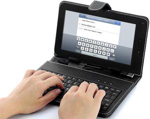 housse en cuir avec clavier pour tablette android 7 pouces samsung galaxy htc flyer. Black Bedroom Furniture Sets. Home Design Ideas