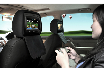 appuie t te de voiture avec lecteur dvd cran tactile 7 transmetteur fm. Black Bedroom Furniture Sets. Home Design Ideas
