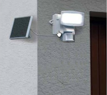 Projecteur ext rieur solaire 80 leds blanches avec for Eclairage exterieur solaire avec detecteur de mouvement