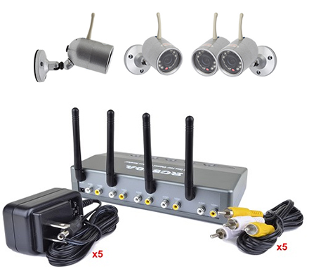 kit video surveillance sans fil 4 cam ras infrarouges r cepteur 4 canaux quadravision. Black Bedroom Furniture Sets. Home Design Ideas